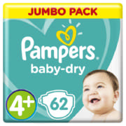 Baby-Dry Size 4+ Jumbo Pack 62 Nappies