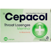 Throat Lozenges Menthol 24 Lozenges