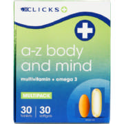 A-Z Body And Mind Multivitamin & Omega 3 Multipack 30 Tablets and 30 Softgels