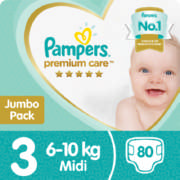 Premium Care New Baby Jumbo Pack Size 3 80 Disposable Nappies
