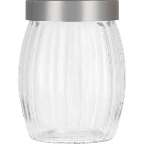 Ribbed Glass Canister Silver Medium