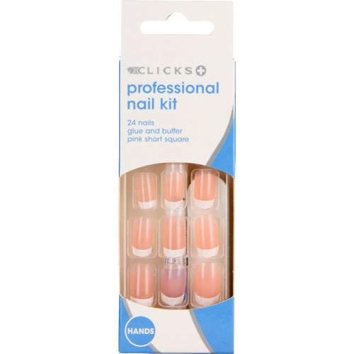 Professional Nail Kit Pink Short 24 Nails