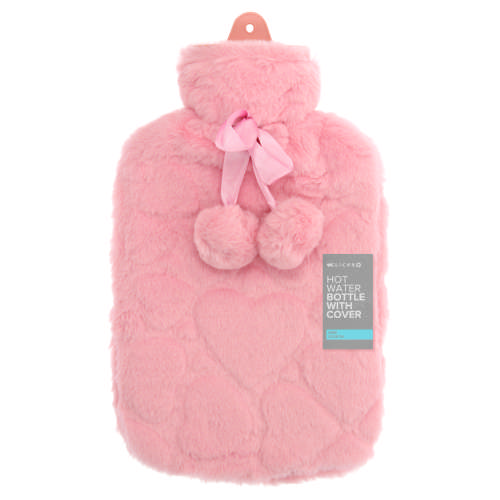 Hot Water Bottle With Cover & Pompoms Dusty Pink