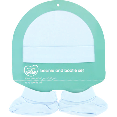 Made 4 Baby Beanie & Bootie Set Blue One Size Fits All
