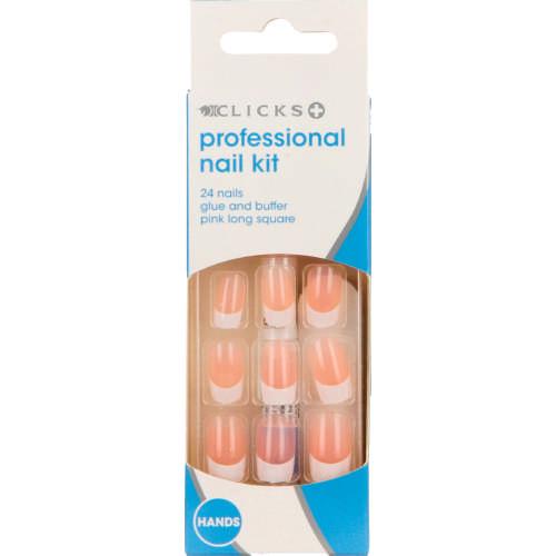 Clicks Professional Nail Kit Pretty In Pink 24 Nails - Clicks