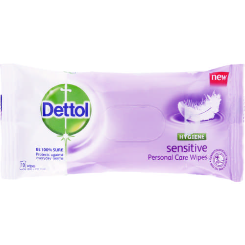 Personal Care Wipes Sensitive 10 Wipes