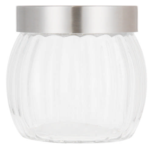Ribbed Glass Canister Silver