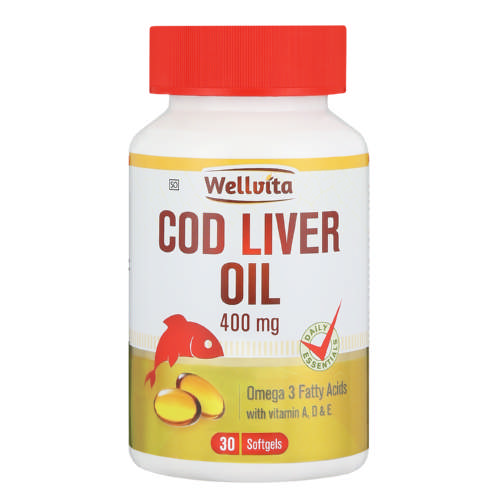 400mg Cod Liver Oil Omega 3 Fatty Acids Softgels 30 Softgels