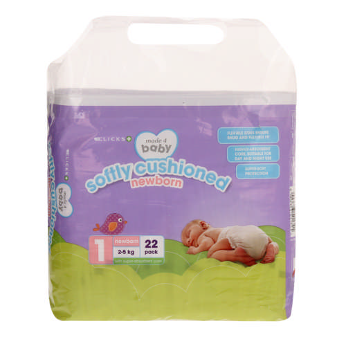 Made 4 Baby Softly Cushioned Nappies Newborn 22 Pack