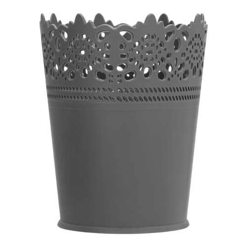 Plastic Lace Round Brush Holder Grey