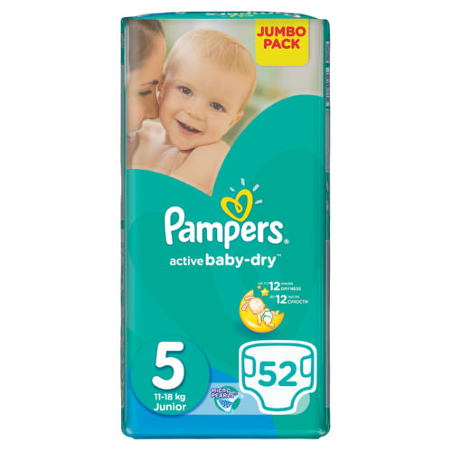 Active Baby-Dry Size 5 Jumbo Pack 52 Nappies