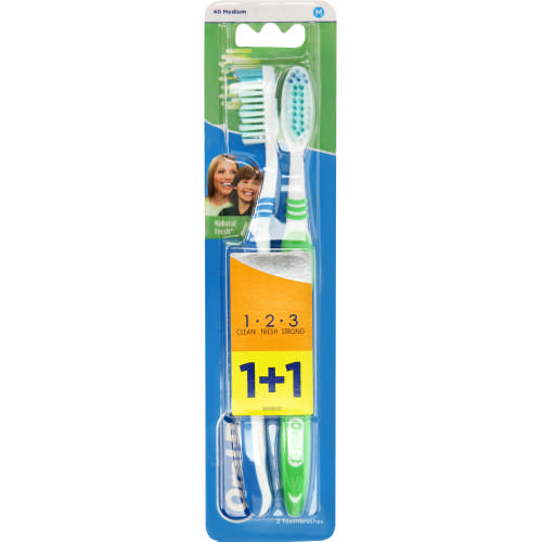 Natural Fresh Toothbrushes Medium 2 Pack
