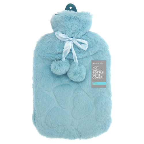 Hot Water Bottle With Cover & Pompoms Empire Blue