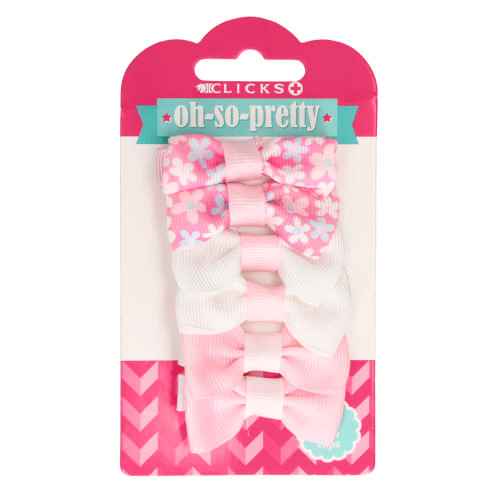 6 Mini Bow Clips Pink