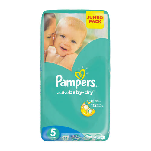 Pampers Active Baby Dry Disposable Nappies Jumbo Pack Size