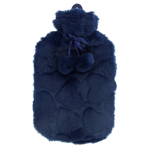 Hot Water Bottle With Cover & Pompoms Navy