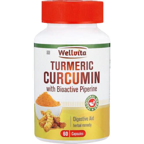 Wellvita Tumeric Curcumin Digestive Aid Herbal Remedy Capsules 60