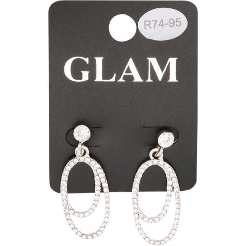 Crystal Drop Earring Silver