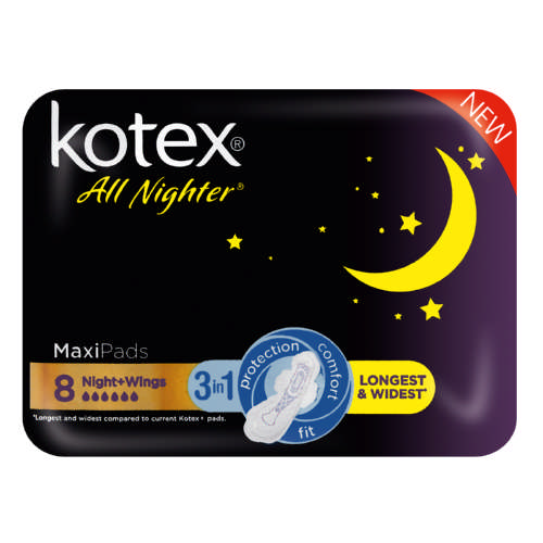 Kotex All Nighter Maxi Pads 8 Pads Clicks