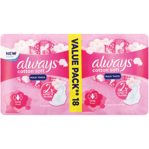 Maxi Soft Sanitary Pads Long 18