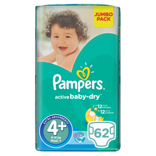 Active Baby-Dry Size 4+ Jumbo Pack 62 Nappies