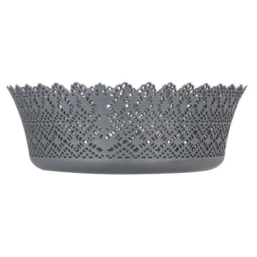 Plastic Lace Round Basket Grey
