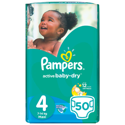 Pampers Active Baby Dry Disposable Nappies Size 4 50