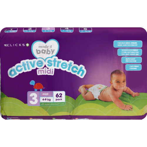 Made 4 Baby Active Stretch Size 3 Midi 62 Pack