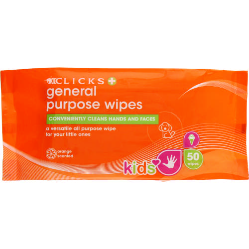 Kids  General Purpose Wipes Orange 50 Wipes