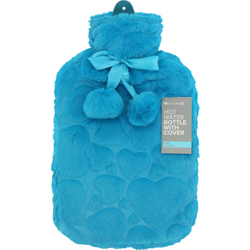 Hot Water Bottle With Cover & Pom Pom Teal