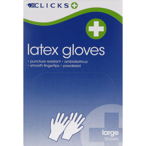 Latex Gloves Large 10 Pairs