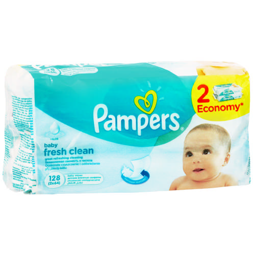 Pampers Baby Fresh Clean Wipes 2x 64 Wipes Clicks
