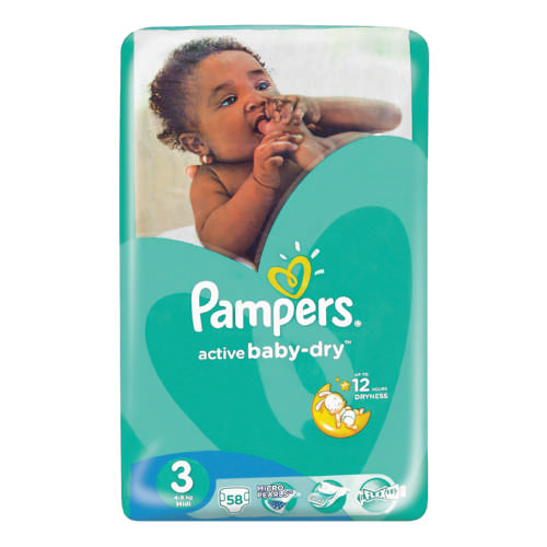 pampers active baby dry disposable nappies size 3 58. Black Bedroom Furniture Sets. Home Design Ideas