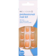 Professional Nail Kit Peach Short Square 24 Nails