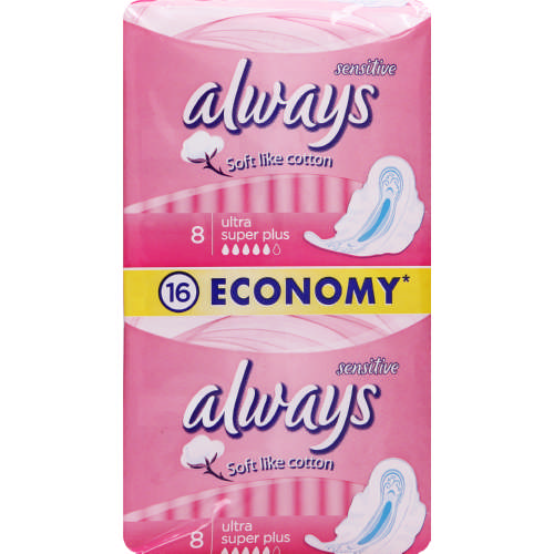 Ultra Sanitary Pads Sensitive Super Plus 16 Pads