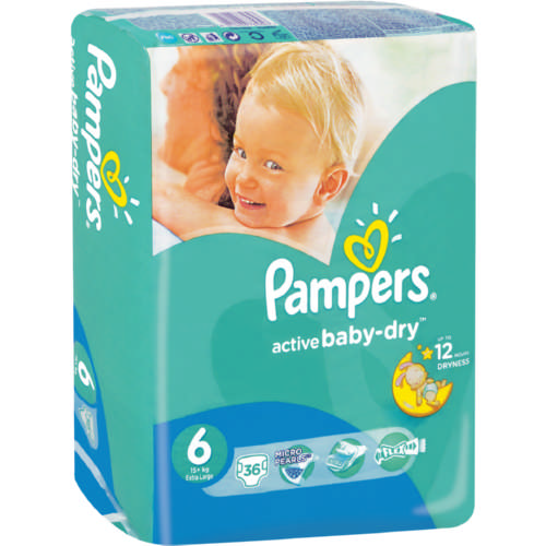 Pampers Active Baby Dry Disposable Nappies Size 6 36
