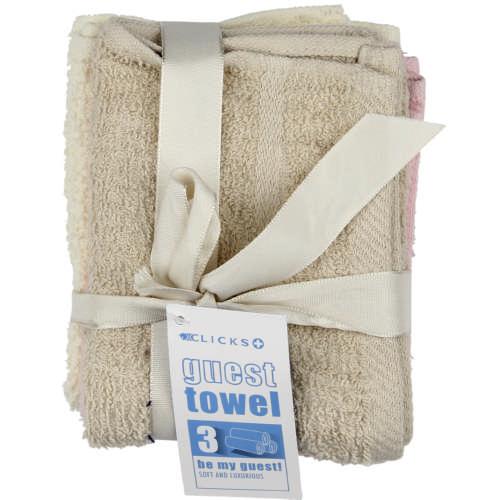 3 Piece Guest Towel Assorted Cool (Pink, Cream, Stone)