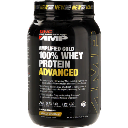 Gnc Pro Performance Amp Amplified Gold Whey Protein Vanilla Ice
