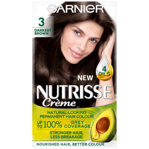 Nutrisse Creme Permanent Nourishing Hair Colour Darkest Brown 3