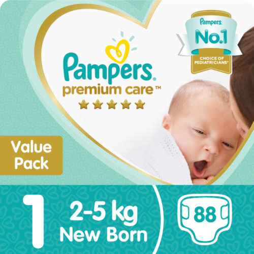 Premium Care Size 1 Value Pack 88 Nappies