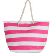 Beach Bag Pink & White Stripe