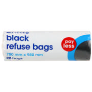 Pay Less Black Refuse Bags 20 Bags