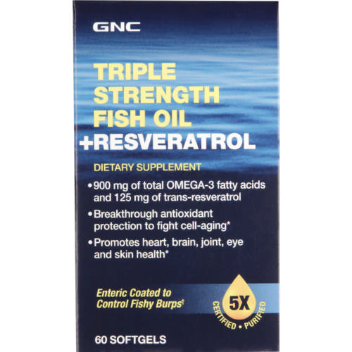 Triple Strength Fish Oil With Resveratrol 60 Capsules