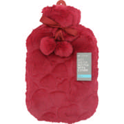 Hot Water Bottle With Cover & Pom Pom Cranberry