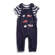 Made 4 Baby Boy Navy Pilot Dungaree Set 6-12 Months 2 Pack
