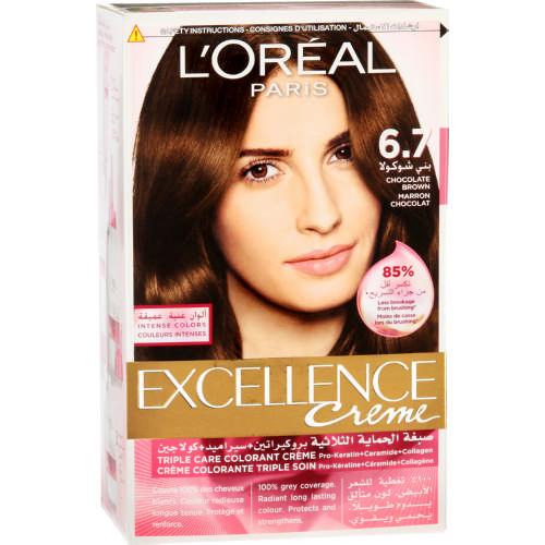 loreal excellence creme hair colour chocolate brown 67