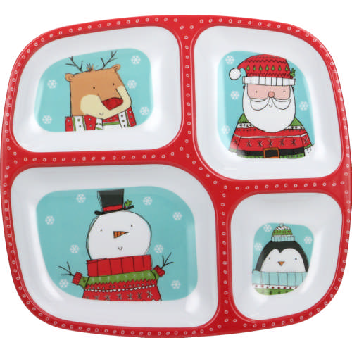 4 Section Melamine Tray Christmas Character