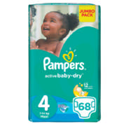 Active Baby-Dry Disposable Nappies Jumbo Pack Size 4 66 Nappies