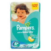 Active Baby-Dry Disposable Nappies Jumbo Pack Size 4+ 62 Nappies