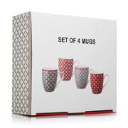Coffe Mugs Red/Grey 4 Pack